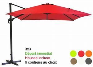 Toile De Rechange Pour Parasol Déporté : parasol excentr mat d port 3x3 avec sa housse d part ~ Dailycaller-alerts.com Idées de Décoration