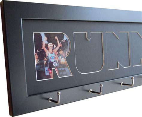 custom marathon and triathlon photo finish medal hanger display frame