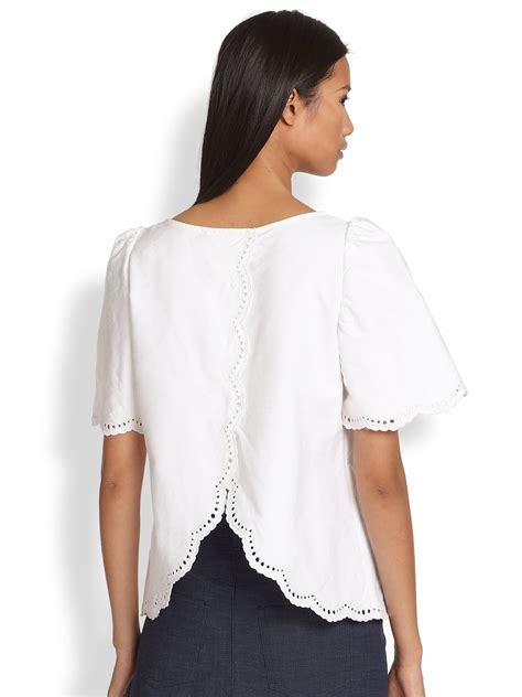 white cotton blouse lyst a p c splitback scalloped eyelet cotton blouse in