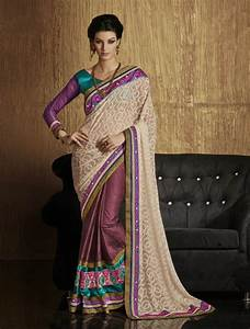 Magenta & Beige Georgette Party Indian Saree Traditional ...