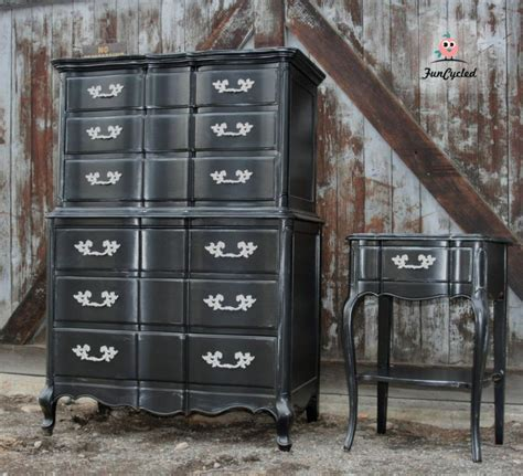 Highboy Dressers For Sale by Black French Provincial High Boy Dresser Set For Sale