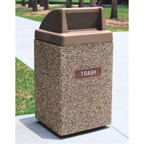 wausau tile trash can trash receptacle 45 gallon concrete push door top