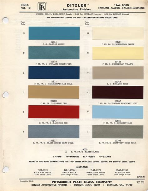 ford mustang color chart  paint mixing codes