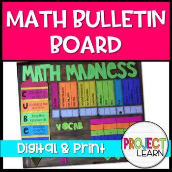 math bulletin board template   add color   tpt