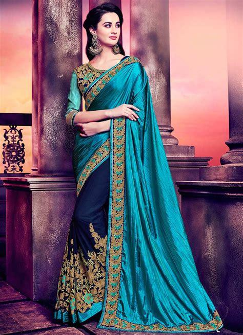 buy blue half n half saree embroidered half n half saree shopping sasbhlmg30070