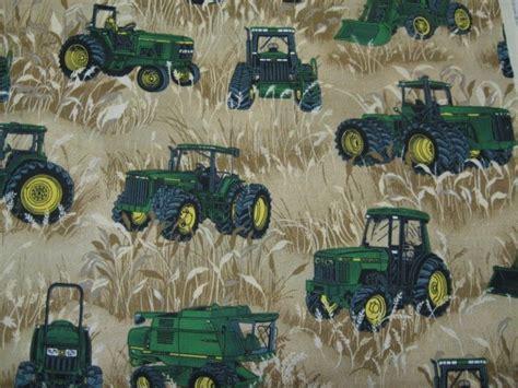 foto de John Deere Tractor Wheat Field farm Beige Fabric By the