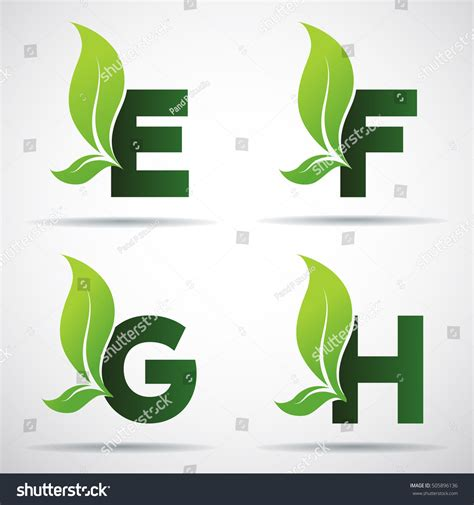 green eco letters logo leaves stock vector 428112841 vector green alphabet set eco letters stock vector