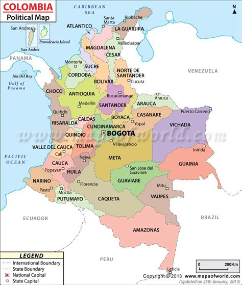 political map  colombia maps colombia map trip