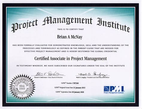 Capm Certified Resume certifications brian a mcnay