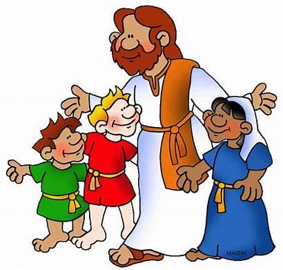 Clip Christian Clipart God Walking Children Jesus