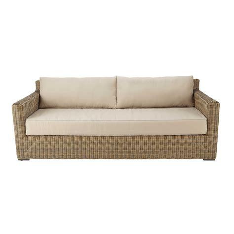 canapé 3 4 places canapé de jardin 3 4 places en résine tressée et tissu