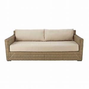canape de jardin 3 4 places en resine tressee et tissu With tapis exterieur avec canapé vintage 3 places
