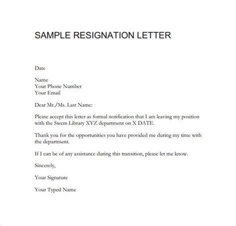 resignation letter format    sample