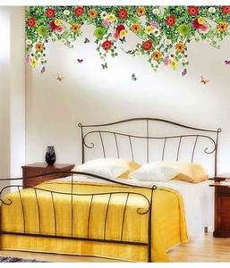 Stickerskart Multicolor Bed Room Backdrop Daisy Flowers