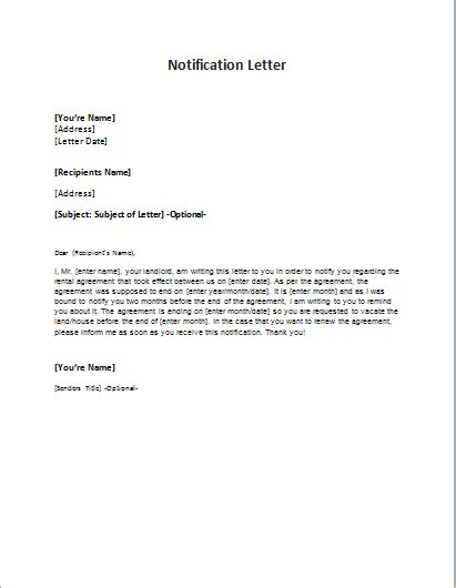 notification letter sample template word excel templates