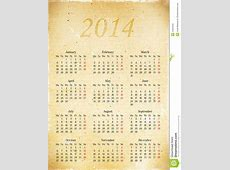 Calendar Grid In 2014 On A Piece Of Old Vintage Paper, A3