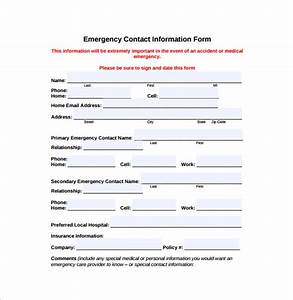 12 sample emergency contact forms to download sample With emergency contact form template for child