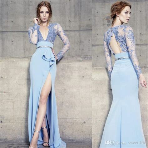 2020 Long Sleeves Blue Evening Dresses Backless Deep V ...