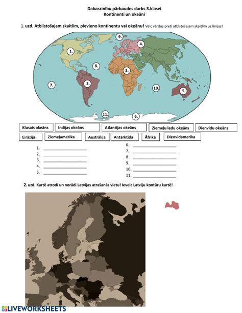 Ejercicio de Dabaszinību PD - kontinenti un okeāni