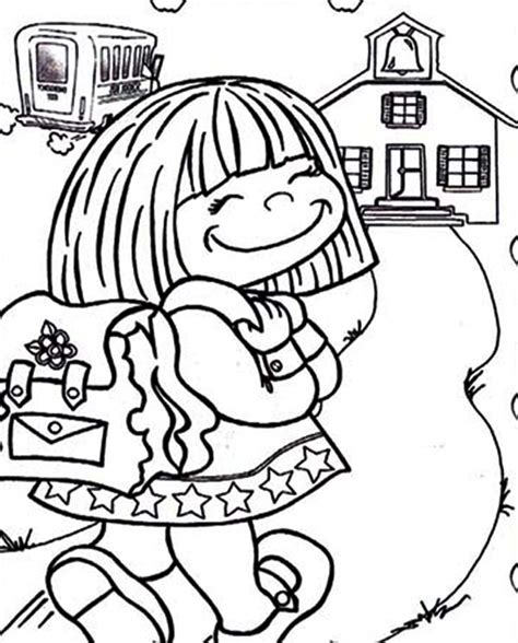 Cute LittleHer First Day of School Coloring Page