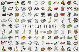 everyday items to do clipart set icons on creative market With kitchen colors with white cabinets with bedtime routine sticker chart
