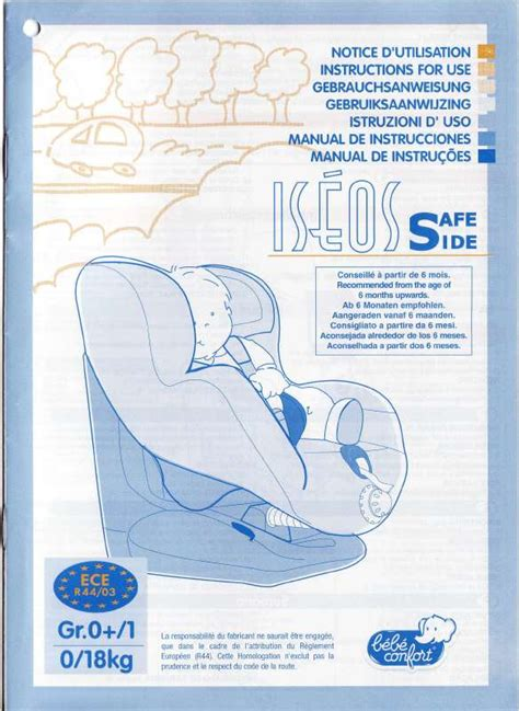 siege auto iseos safe side mode d 39 emploi bebe confort iseos safe side siège auto
