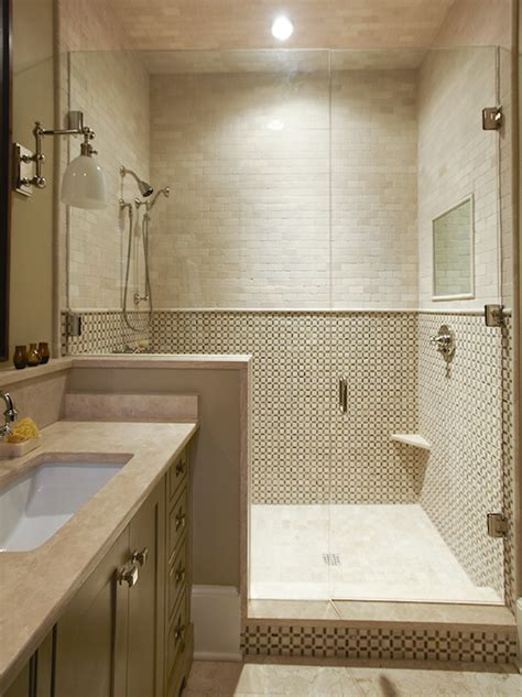 travertine small bathroom source urban grace interiors gorgeous small bathroom design with tumbled marble tiles shower