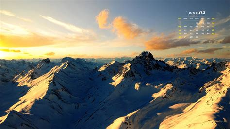 山脉-2012年二月日历桌面主题壁纸-1366x768下载   10wallpaper.com