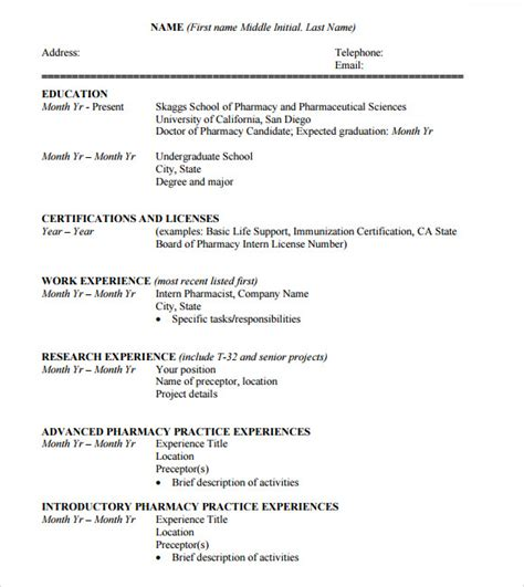 Pharmacy Student Resume Format by Sle Student Cv Template 9 Free Documents In