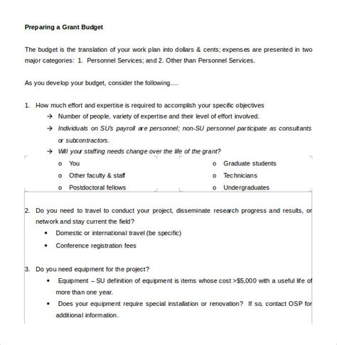 grant budget template    document