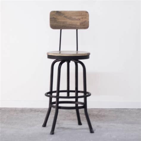 chaise haute industriel tabouret de bar industriel avec dossier en bois et métal