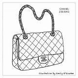 Bag Drawing Purse Chanel Handbag Designer Handbags Sketches Bags Sketch Coloring Drawings Pages Purses Cad Illustration Disegno Iconic Borsa Bolsa sketch template