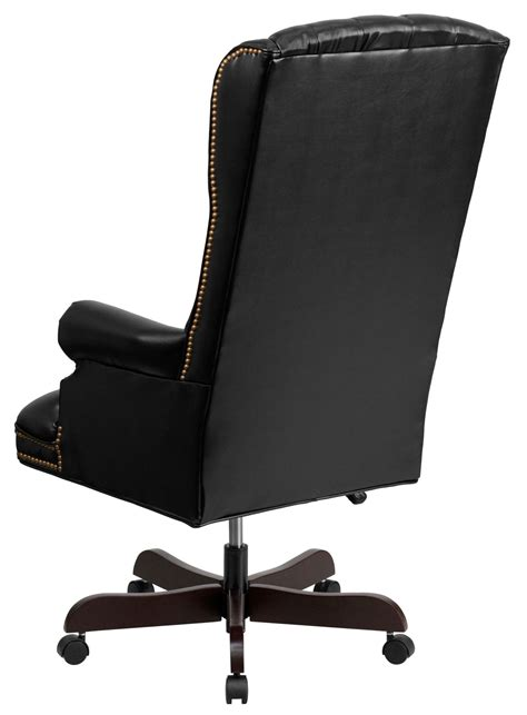 360 high back tufted black leather executive office chair