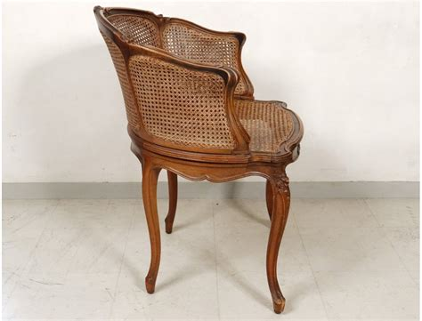 fauteuil de bureau louis philippe office chair caned louis xv carved walnut shells flowers nineteenth century antiques de laval