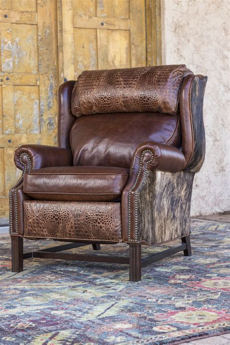 Cowhide Recliner croc cowhide recliner brumbaugh s home furnishings