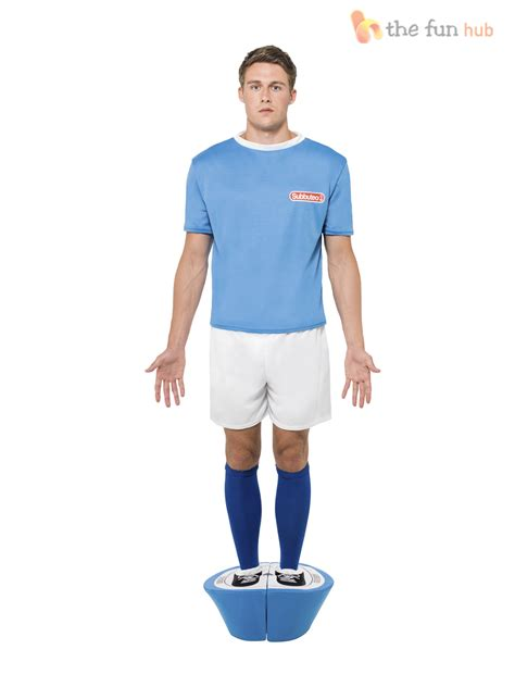Subbuteo Strip Costume Mens Football Kit Sports Fancy Dress 80s Funny Stag Party