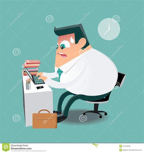travailler dur dans le bureau illustration de vecteur