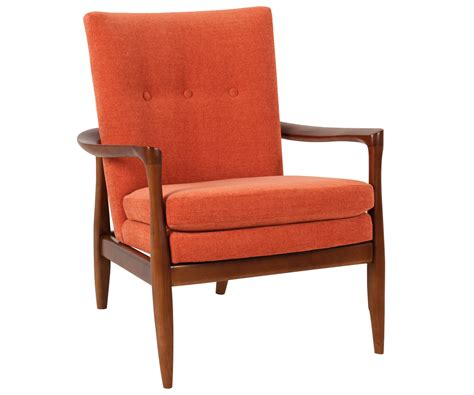 Mid Century Modern Fabric Accent Chair With Wood Frame