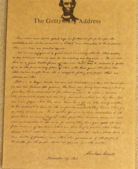 gettysburg address  art parchment  carolines