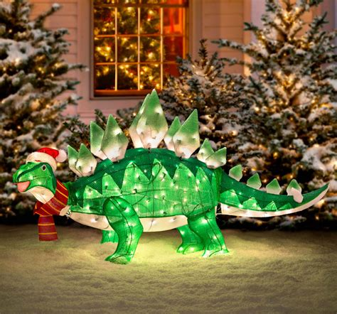 light up animated dinosaur christmas lawn ornament