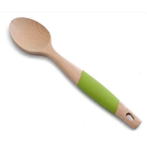 ustensile cuisine bois cuillère lisse en bois et silicone 34 cm cuillères