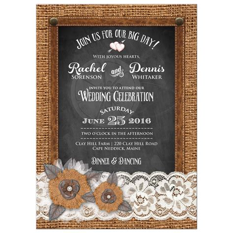 Country Wedding Invitation Burlap Chalkboard Leather