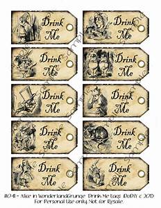 drink me alice in wonderland wedding favor tags party With alice in wonderland tags template