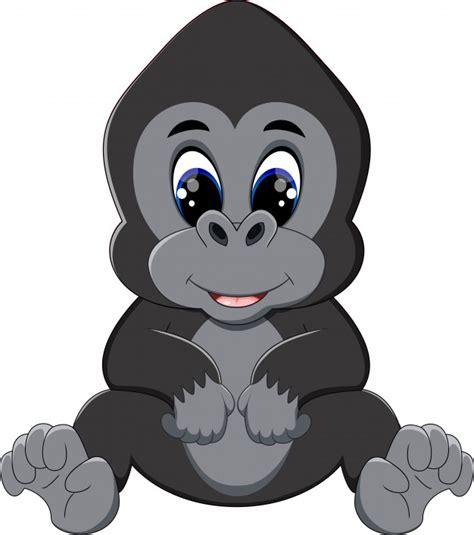 Ilustração de desenho animado gorila Vetor Premium