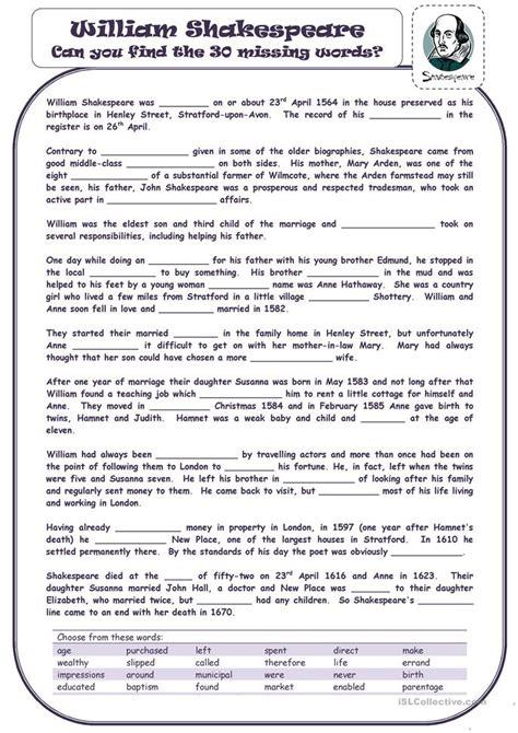 25 free esl shakespeare worksheets