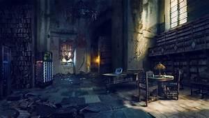 Photography, Abandoned, Building, Interior, Books, Bookshelves, Server, Laptop, Table, Chair