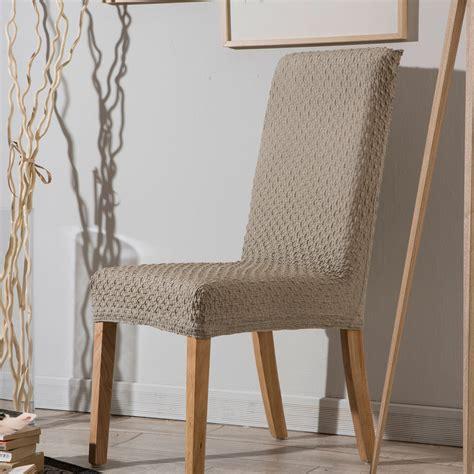 housse chaise extensible housse de chaise bi extensible unie effet gauffré marine beige
