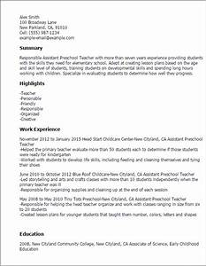 Professional preschool teacher resume recentresumescom for Sample resume for assistant teacher in preschools