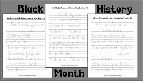 free printable black history worksheets for kindergarten