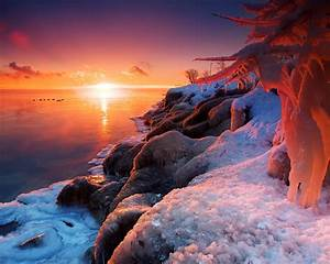 wallpaper, beautiful, winter, sunrise, , lake, , ice, , snow, 1920x1200, hd, picture, , image